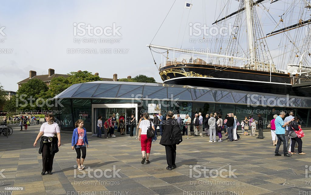 Queue for the Cutty Sark stock photo