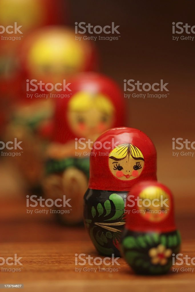 Queue of Russian Dolls royalty-free stock photo