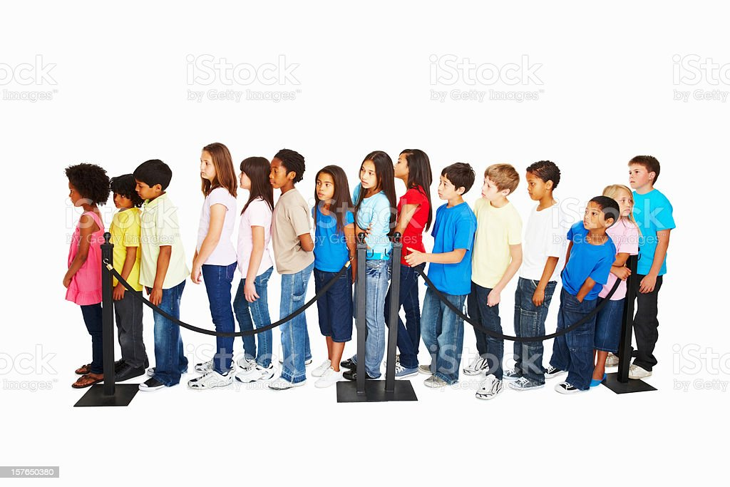 Queue of waiting multi ethnic kids against white background stock photo