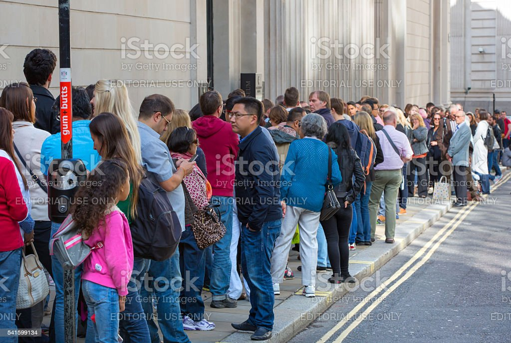 Queue on the Bank street. London stock photo