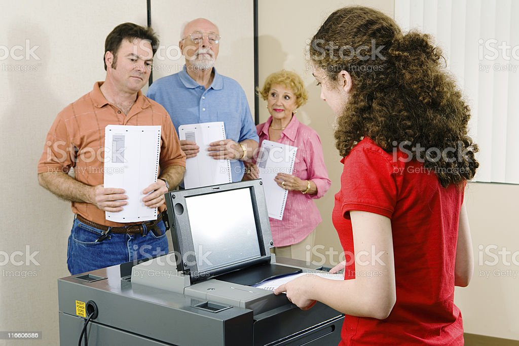 Queued Up To Vote stock photo