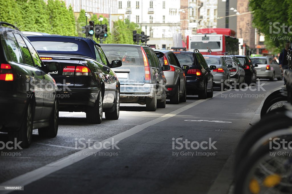 Queueing cars in the city royalty-free stock photo