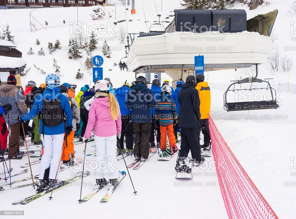 Queueing for a chairlift stock photo