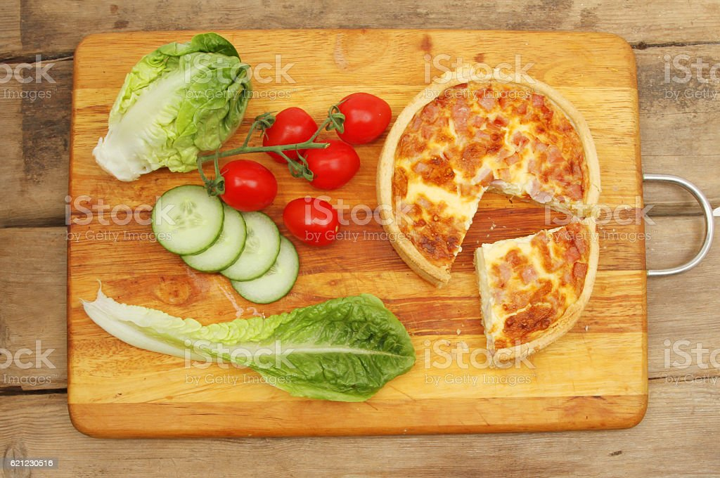 Quiche and salad stock photo