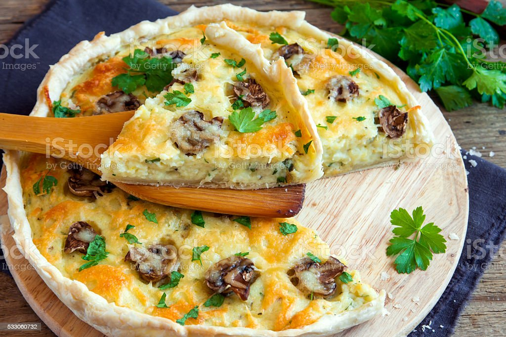 quiche pie with mushrooms stock photo