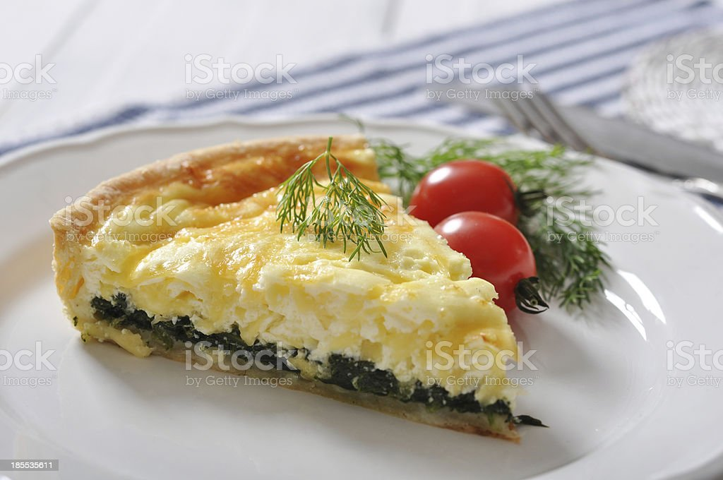 quiche pie with spinach royalty-free stock photo