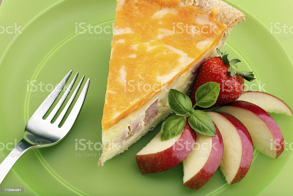 Quiche with Apples Strawberries and Basil stock photo