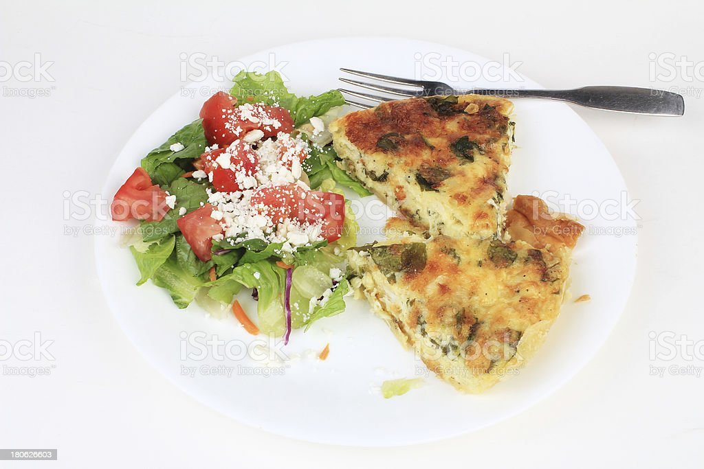 Quiche with Feta Cheese Salad royalty-free stock photo