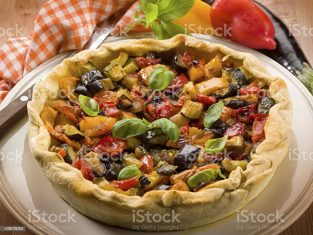 quiche with mixed vegetables royalty-free stock photo