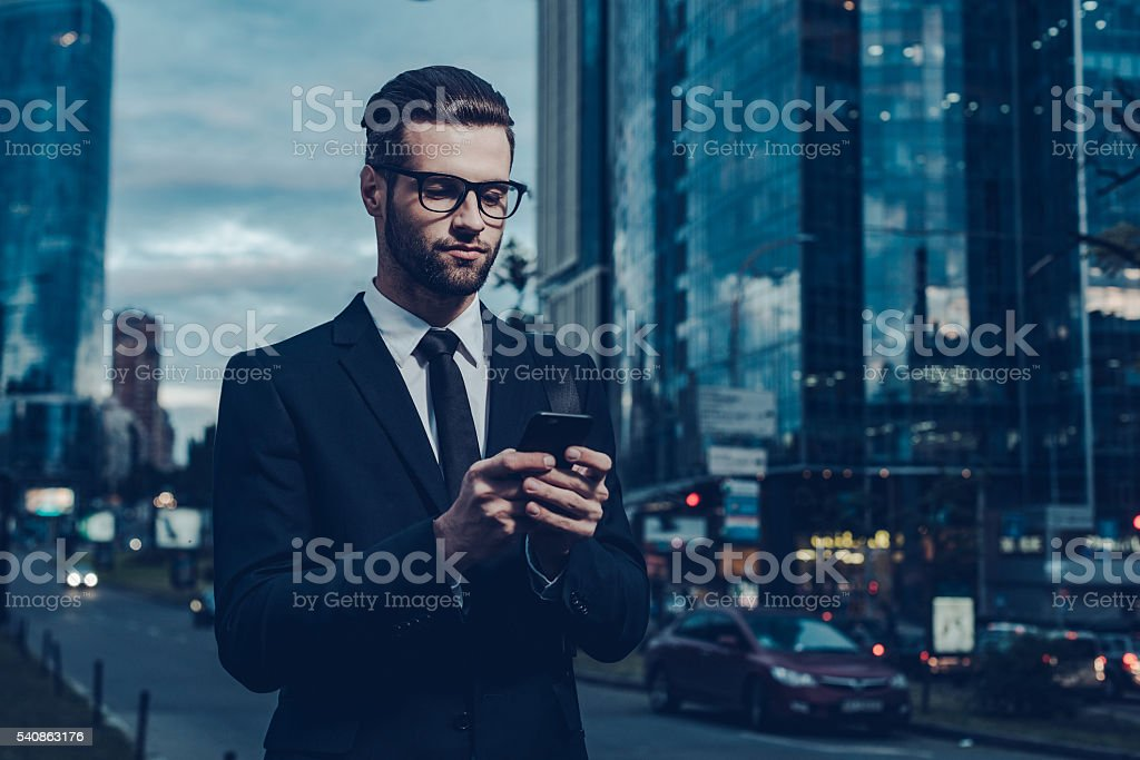 Quick business message. stock photo