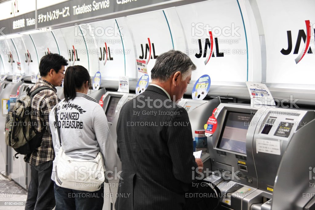 Quick check-in at airport stock photo