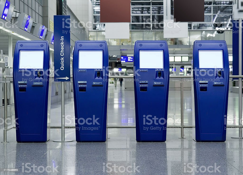 Quick Check-In Counters at the airport royalty-free stock photo