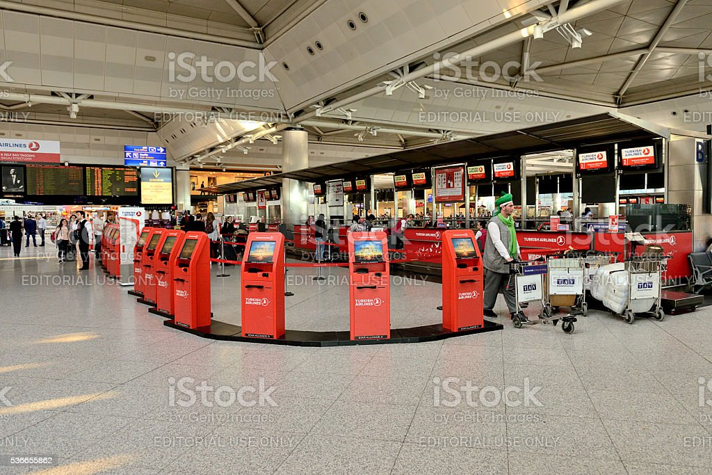 Quick check-in machines in Ataturk Airport stock photo