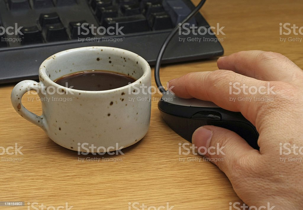 quick coffee break with rustic cup front of the computer royalty-free stock photo