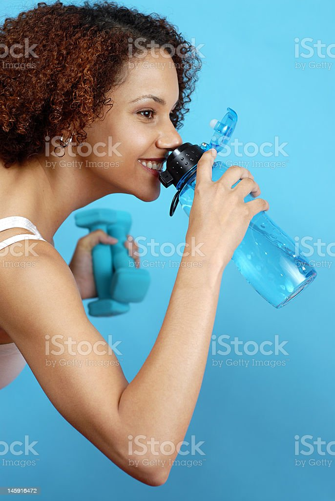 Quick drink of water royalty-free stock photo