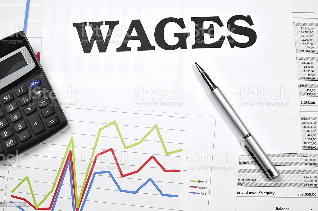 Quick look at wages and income data in corporate business stock photo