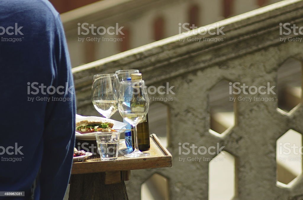 Quick lunch in Venice stock photo