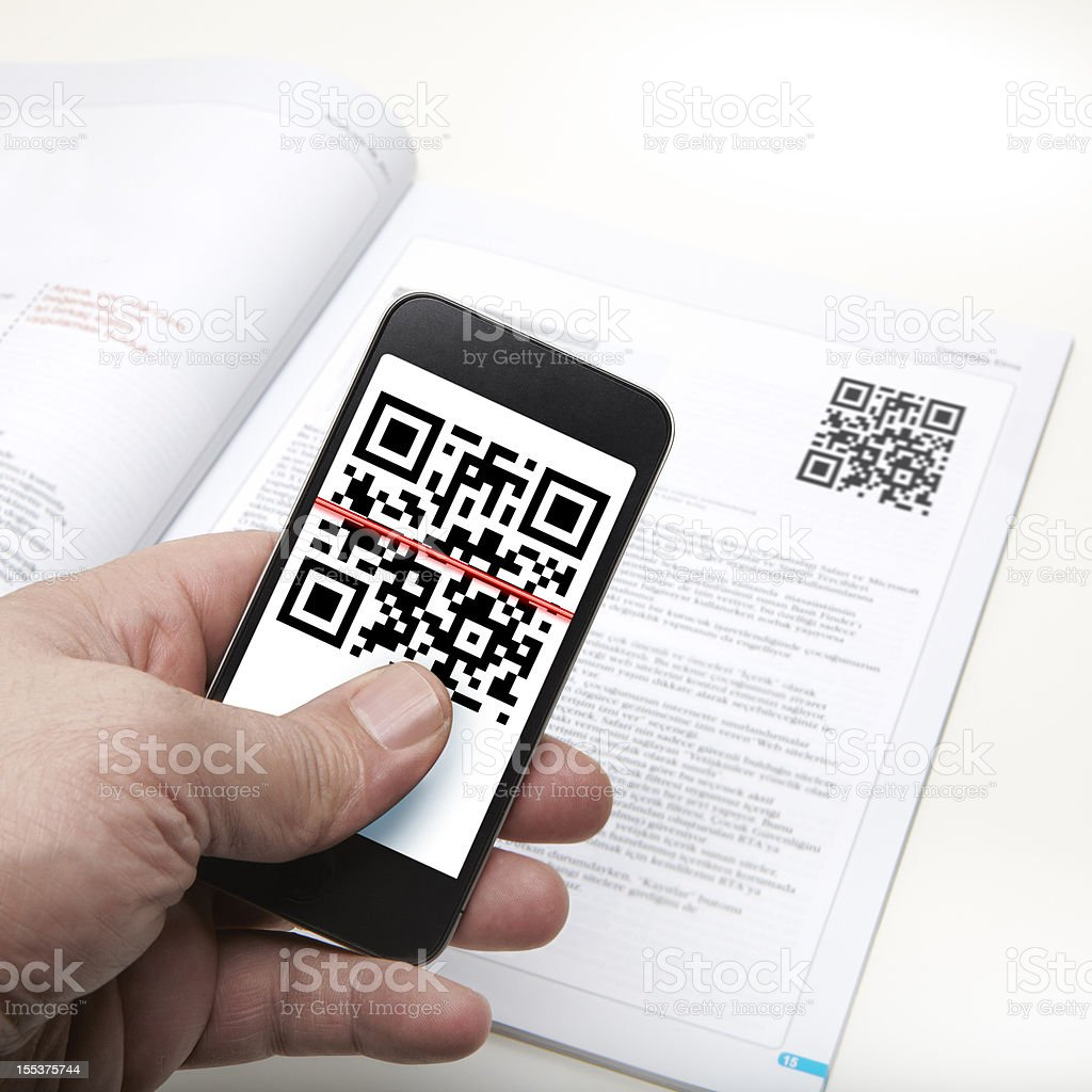 Quick Response Code on a smart phone stock photo