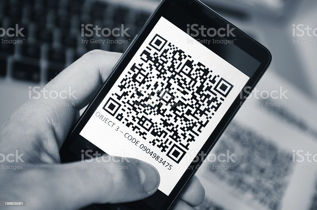 Quick response code on smartphone stock photo