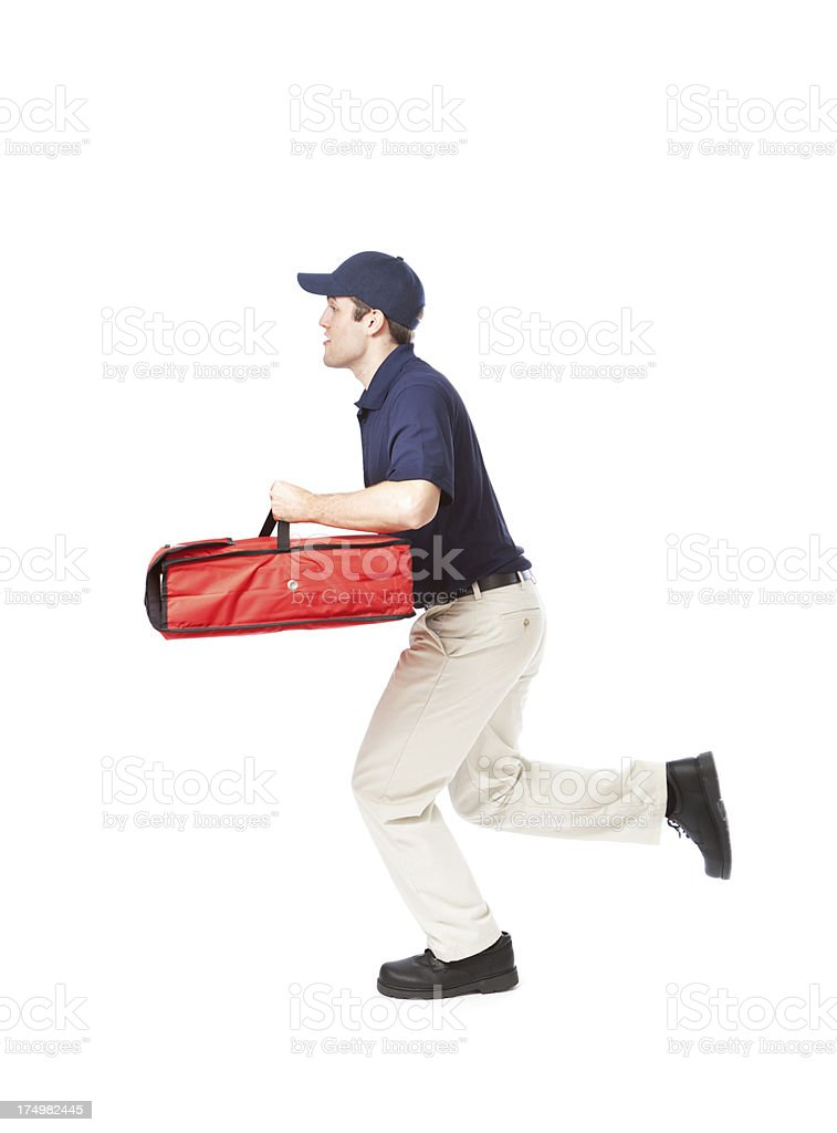 Quick Take-out Pizza Delivery Man Running Fast on White Background stock photo