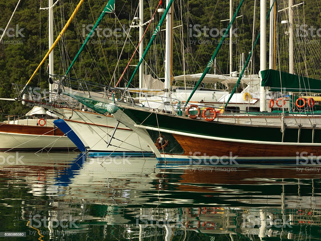 Quiet and peaceful morning in marina. stock photo