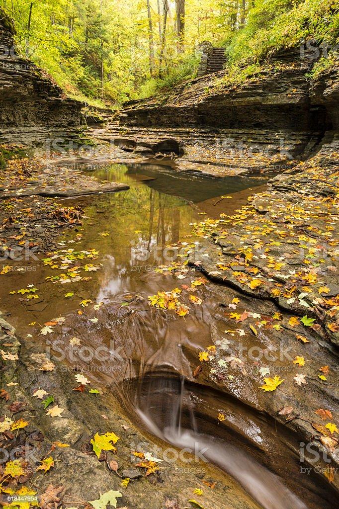 Quiet Autumn Pool on Buttermilk Creek stock photo