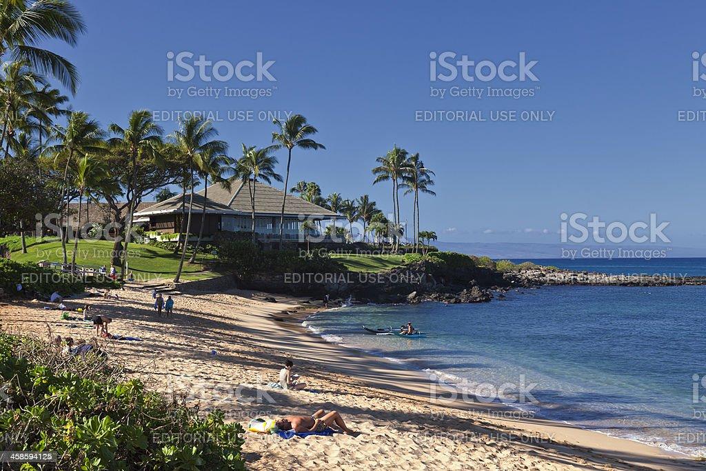Quiet Beach in Maui stock photo