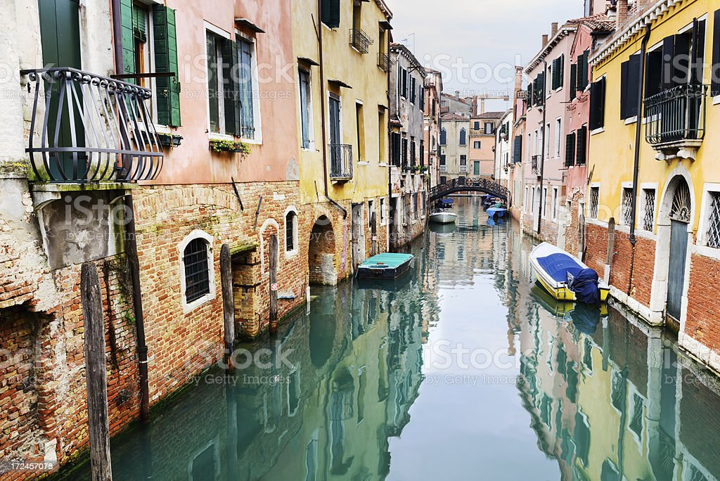 Quiet canal in Venice stock photo