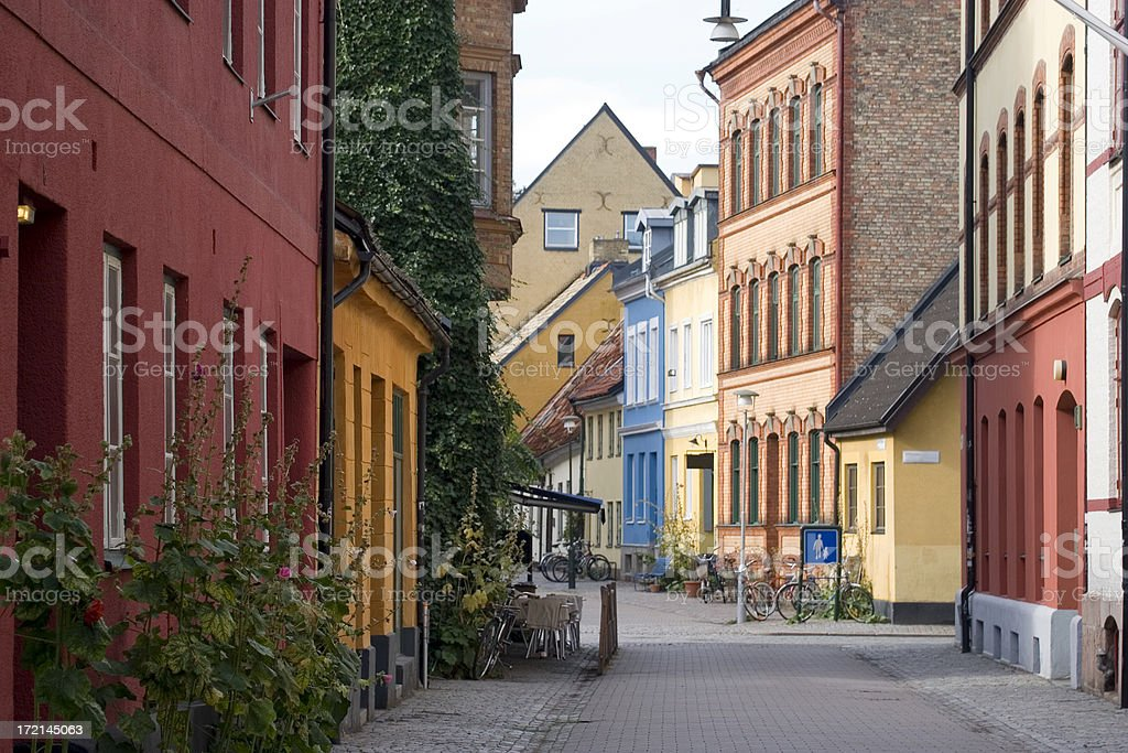 Quiet city street, Malmo, Sweden stock photo