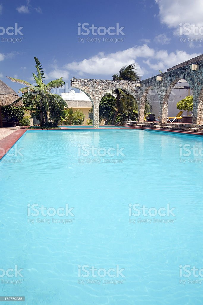 Quiet, Clean Resort Pool (vertical) stock photo