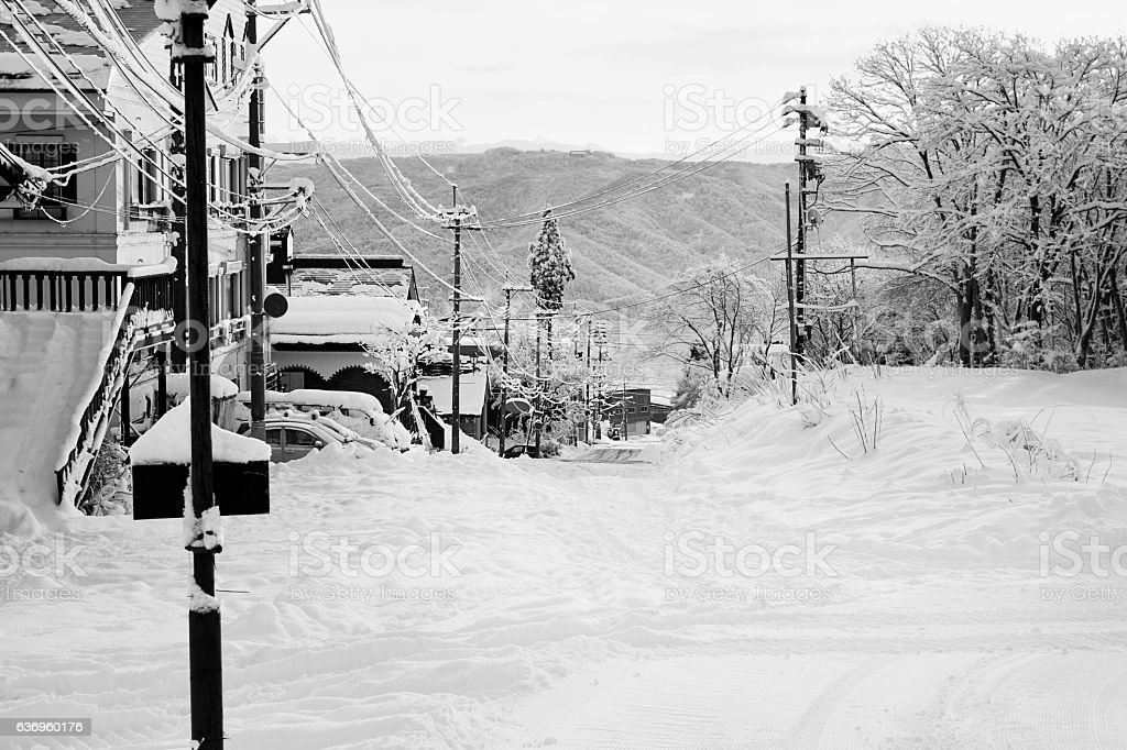 Quiet, early morning street in Myoko stock photo
