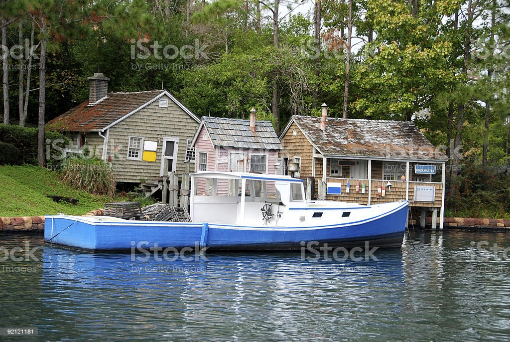 Quiet fishing village in the Northeastern USA stock photo