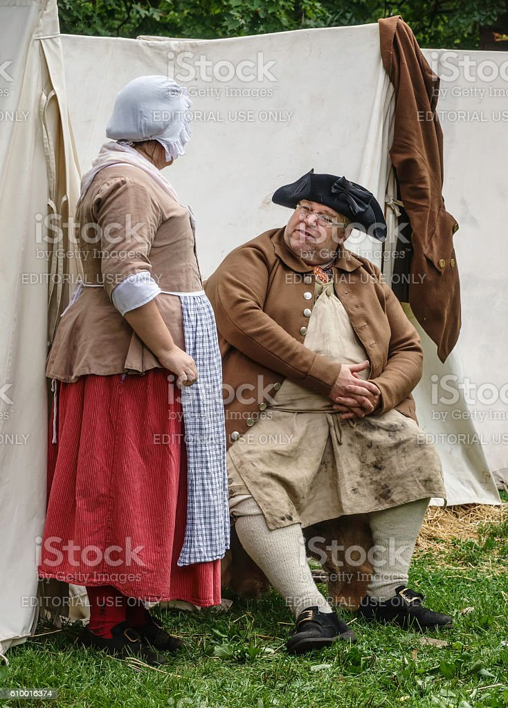 Quiet interlude in a living-history military camp stock photo