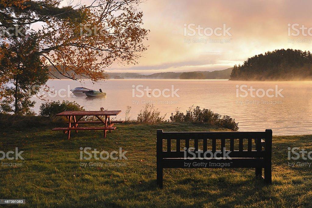 Quiet Lake and Quiet Lake and Asaka stock photo