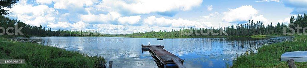Quiet lake in Quebec, Canada stock photo