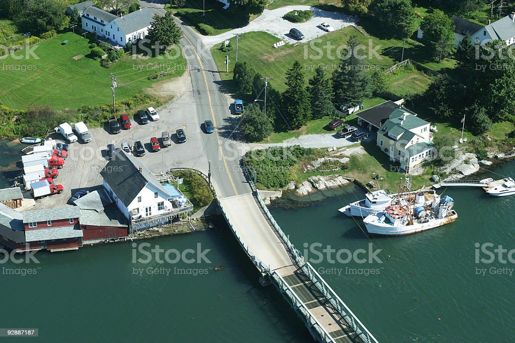 Quiet life of the fisherman's village (New England, USA) stock photo