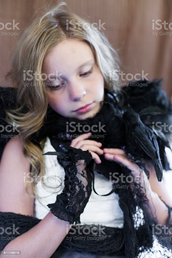 Quiet moment for preteen girl stock photo