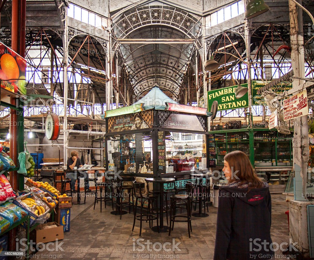 Quiet moment in San Telmo market stock photo