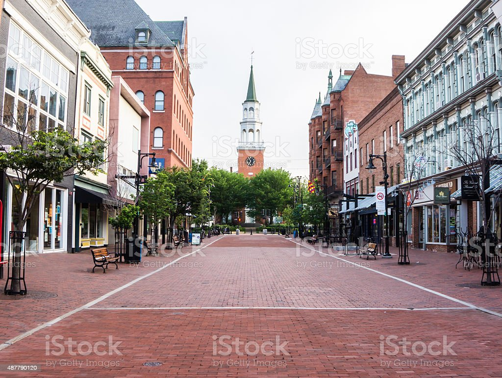 quiet morning on pedestrian street in New England city stock photo