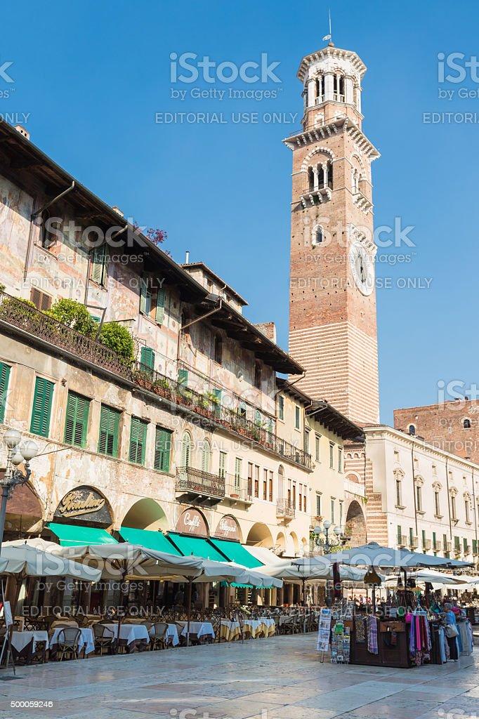 Quiet noon at Piazza delle Erbi, Verona, Italy stock photo