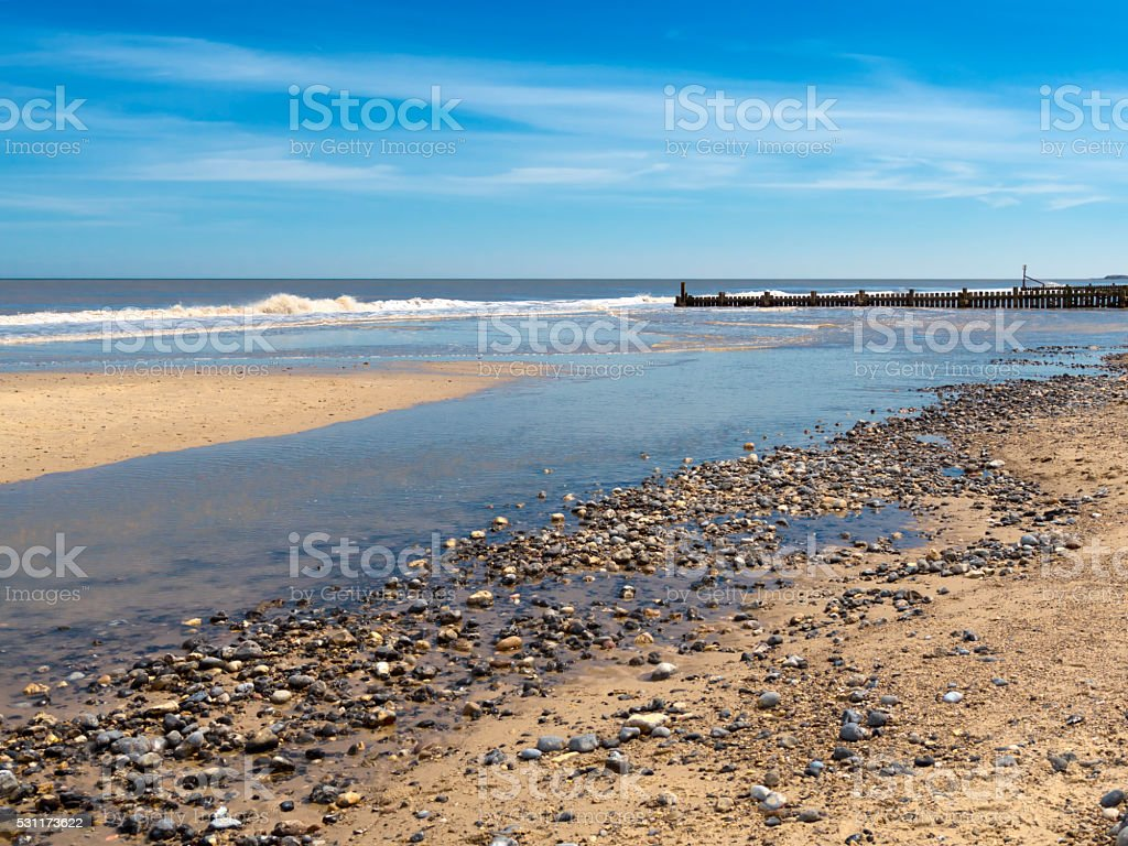 Quiet Norfolk beach stock photo