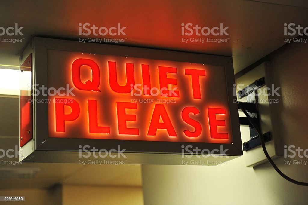 Quiet Please stock photo