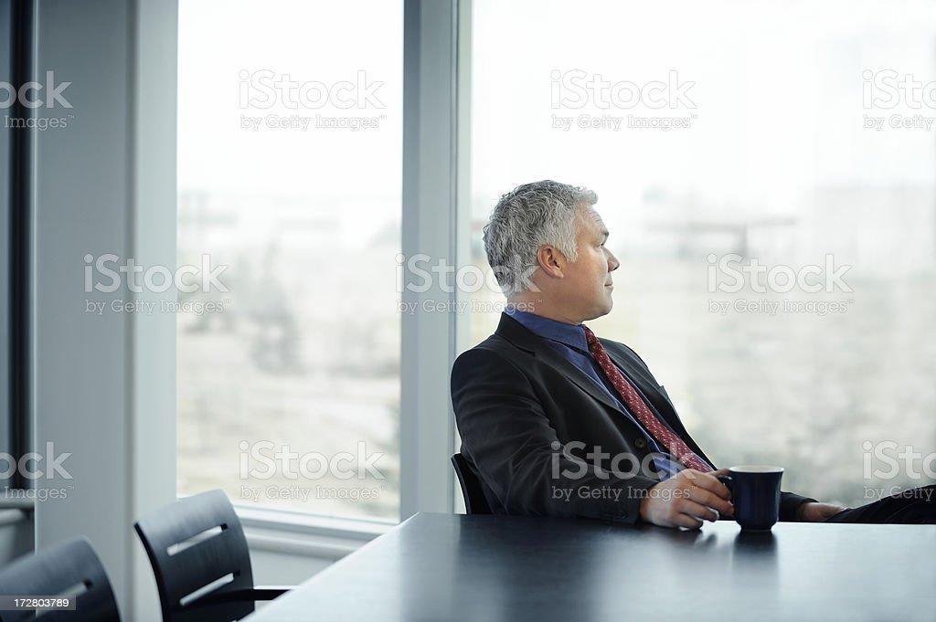 quiet reflective businessman royalty-free stock photo