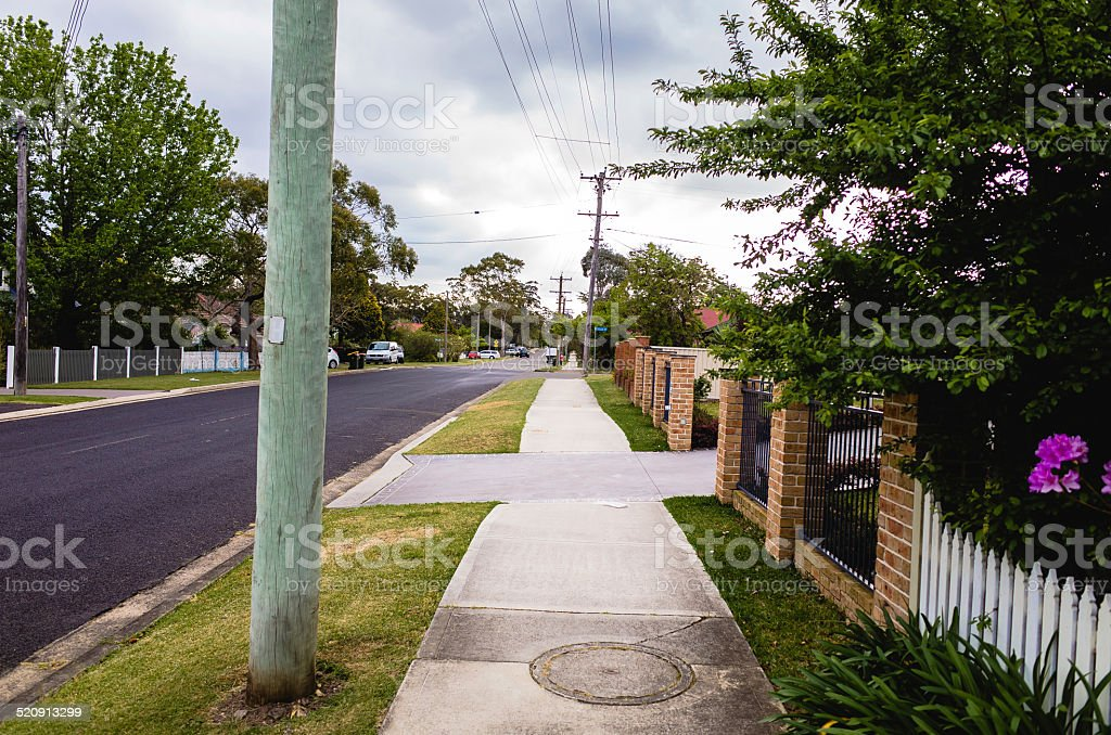 Quiet residential street in the Blue Mountains, Australia stock photo