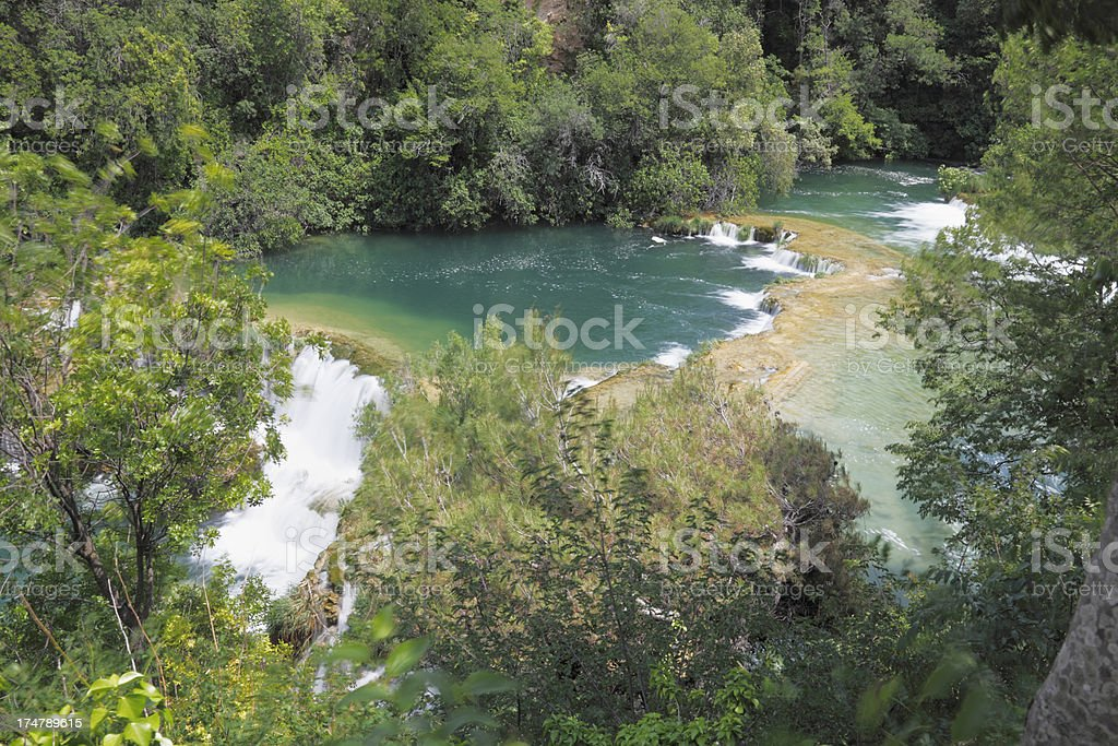 quiet river cascade with streaming water and rocks  Croatia Krka royalty-free stock photo