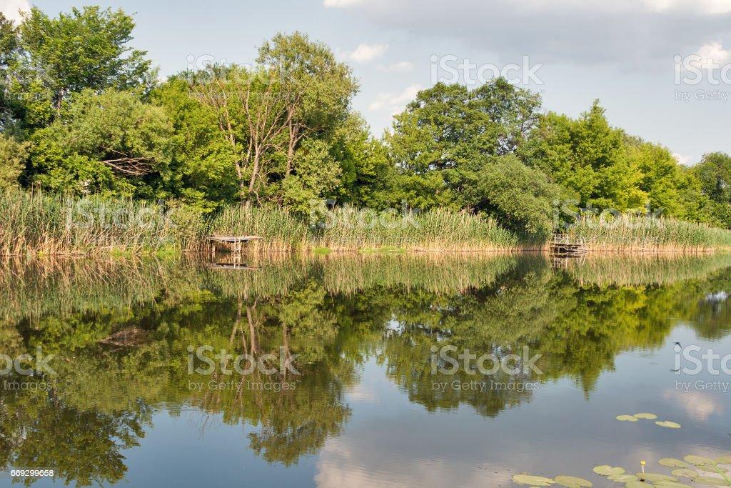 Quiet Ros river in summer, Ukraine stock photo