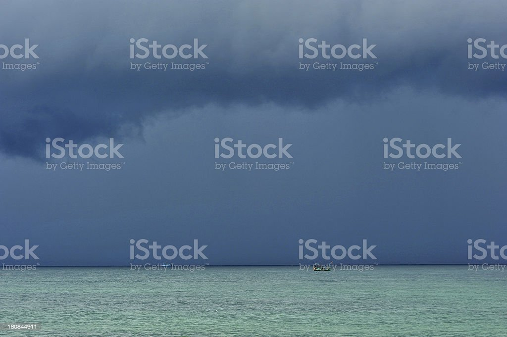 Quiet sea before the storm stock photo