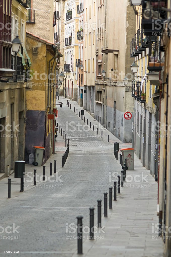 Quiet side street Madrid royalty-free stock photo