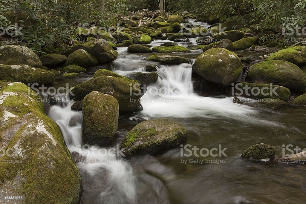 Quiet spring stream and waterfall royalty-free stock photo