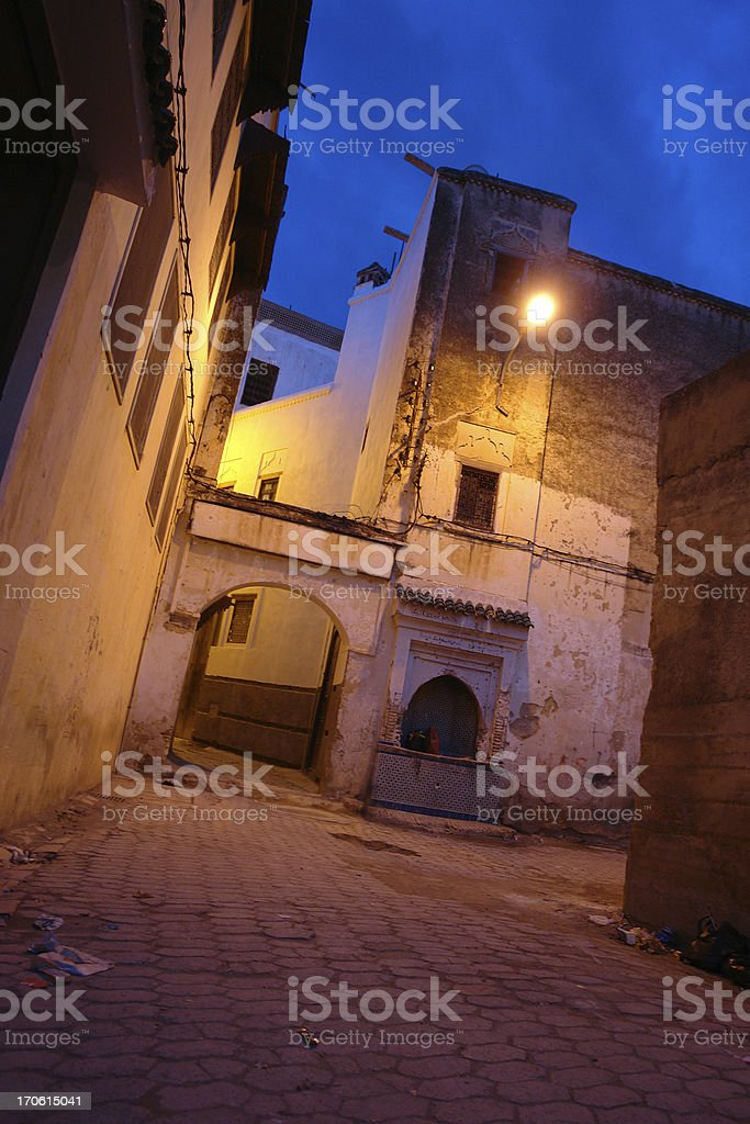Quiet Street by Night in Fes, Morocco royalty-free stock photo